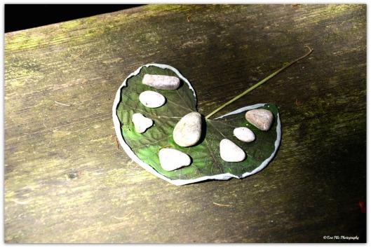Herzblatt mit Steinen
